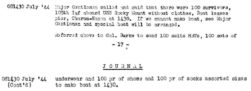 27th Division S-4 Journal, Forager Operation.
