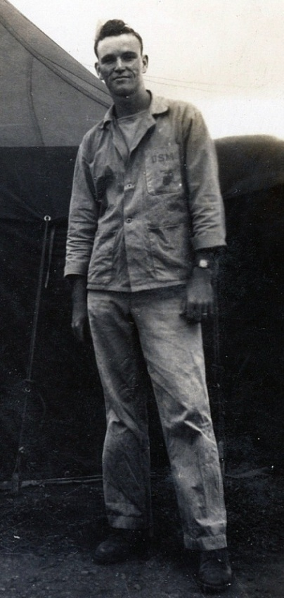 PFC Tom Jones of A/1/24, with the standard P41 HBT fatigue uniform. Collection of the author.
