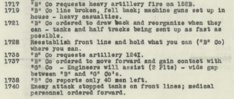This excerpt from the 1/24 war diary illustrates how quickly the fortunes of war could change. Notice, however, that Baker Company not only rallied but managed to call in artillery on one of the Japanese guns far behind them on Nafutan Point (1735).