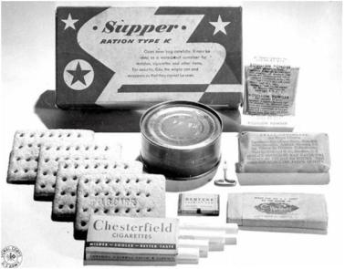 Supper: canned meat (either Cervelat sausage, pork luncheon meat with carrot or apple, beef and pork loaf; biscuits; a 2-ounce D ration emergency chocolate bar, Tropical bar, or commercial sweet chocolate bar; packet of toilet paper tissues; a four-pack of cigarettes; chewing gum; Bouillon cube or powder packet.