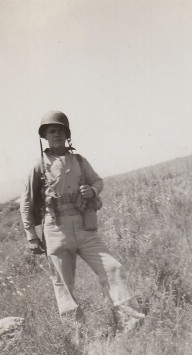 Frankie Schnell is nonplussed by the Camp Pendleton scenery. April 24, 1943.