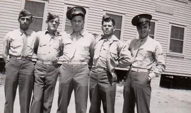 PFC Abe Lehrman, PFC Frank Schnell, PFC R. J. Kelly, PFC John Morrison, Cpl. John Waytow. April 25, 1943. Camp Pendleton.