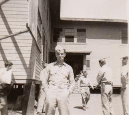 John Waytow outside his barracks at Camp Pendleton, June 1943.