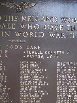A closeup of the memorial, showing John Waytow's name.