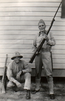Waytow (left) with unidentified friend at Parris Island, September 7, 1941. Waytow has been in boot camp for two weeks.