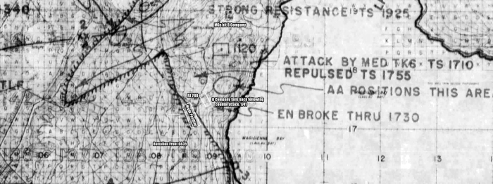 1/24's area of operations, June 18. Their comparatively short advance nevertheless put them on the O-3 line. Note the gap south of the night position--contact with the 25th Marines had been lost, but fortunately the Japanese did not take advantage of the situation.