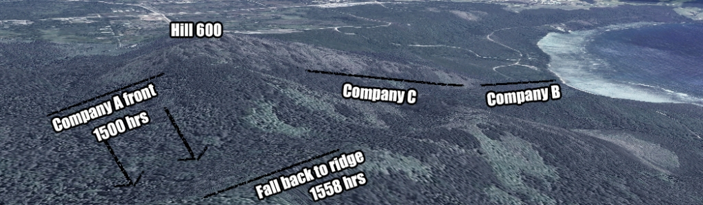 This topographic image from Google Maps shows Hill 600 as it is today. The large gap between Companies A and C was momentarily connected by Aeby and Horan, until Company A was forced to fall back. The left flank of Company C did not bend back to connect, and for several hours a gap of 600 yards existed within the battalion.
