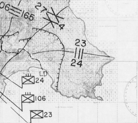 This section of an operations map shows the line of departure (LD) and nighttime positions of the 23rd and 24th Marines. Also evident is the widening gap between the 23rd's left flank and the Army's 165th Infantry.