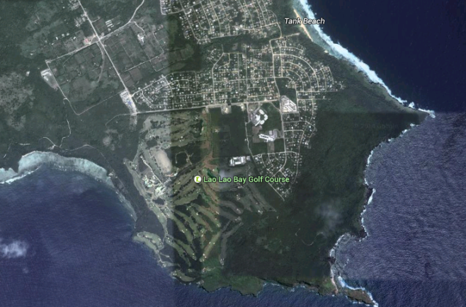 Kagman Peninsula today. The flat, tilled land was ideal for settlement, and much of the 24th Marines' zone of operations is now a golf course.