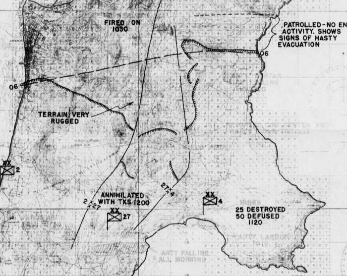 This section of an operations map shows the bend in the American line and the fragmentary nature of connection between the Army and the 4th Marine Division.