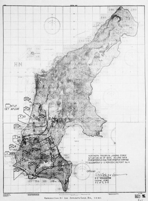 G-3 (Operations) map showing the known location and disposition of American units.