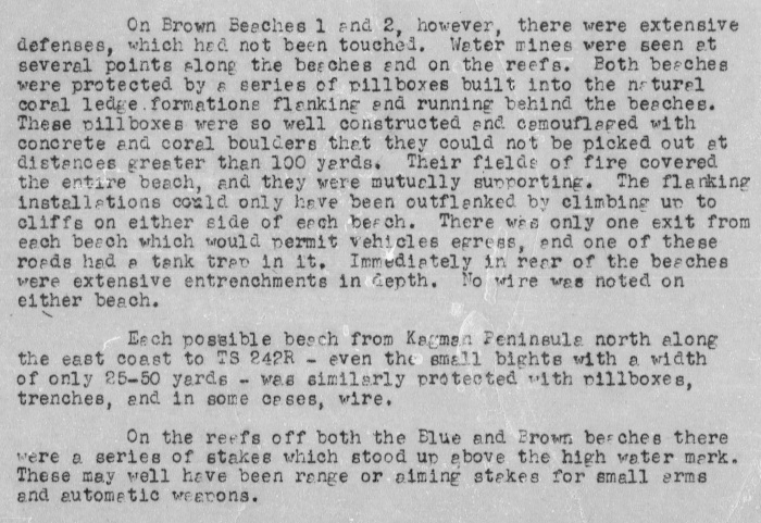 This report, submitted by the intelligence section of the 23rd Marines, describes typical Japanese fortifications in the Kagman sector.