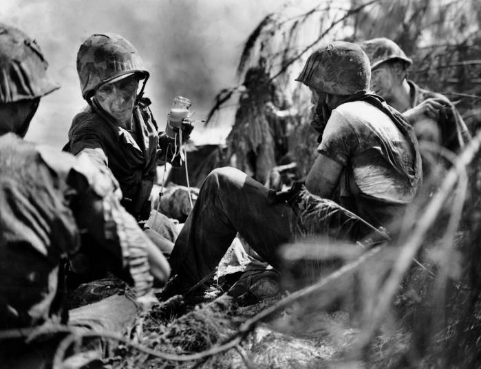 A typical Marine aid station on Saipan. These men are members of 3/24.