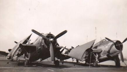 TBF Avenger torpedo bombers, presumably aboard the Block Island.