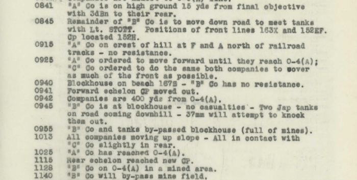 The morning of June 22, as recorded by the battalion's War Diary.