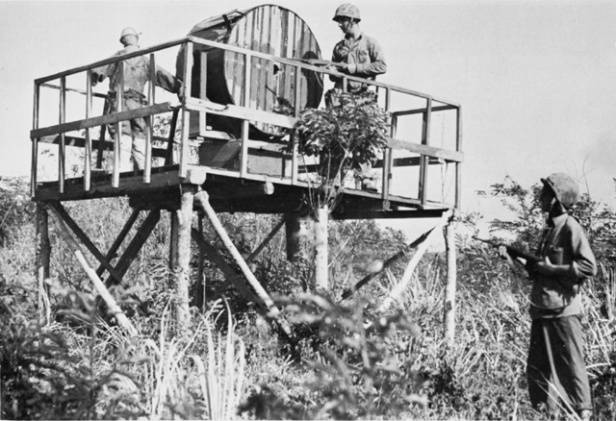 Marines investigate the fake spotlight post. Such dummy obstacles were not uncommon on Saipan's east coast. Official USMC pictures.