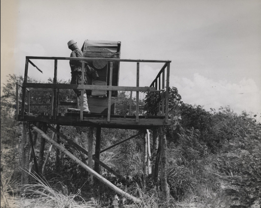 A fake radar searchlight post set up by Japanese troops, complete with dummy trooper.