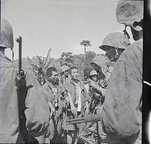 In this rarely-seen series by W. Eugene Smith, Marines (believed to be members of 1/24) secure a group of prisoners. All images in this gallery are © 1944, 2014 The Heirs of W. Eugene Smith, and are published with express permission. Obtained from: Center for Creative Photography, University of Arizona, Tucson: W. Eugene Smith Archive W. Eugene Smith, Saipan, 1944, digital image made from a 2 ¼ x 2 ¼ negative W. Eugene Smith Archive Center for Creative Photography