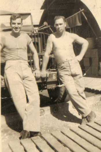 Charles Krieve (left) with a buddy at the 6th Service Depot.