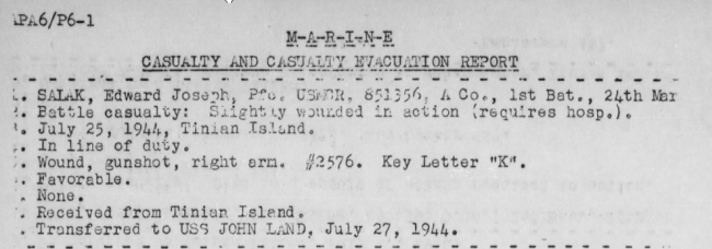 Report of the USS Heywood, July 1944.