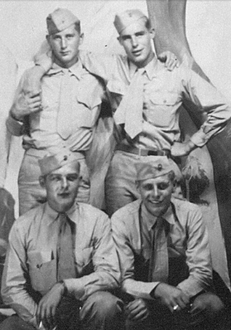 "Clockwise from top left: Gil Miller, Robert ""Ernie"" Watkins, Donald Rau and Ed Curylo, all of First Squad, Third Platoon, Company B. Miller was killed on Iwo Jima."
