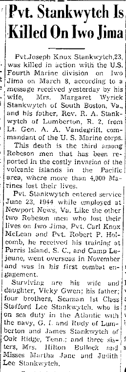 The Robesonian, April 4, 1945.