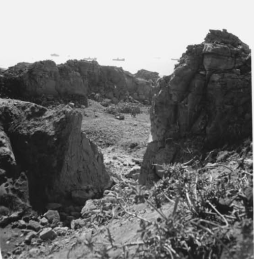 While its right flank fought along the beaches, Able Company's leftmost platoon searched through this area.