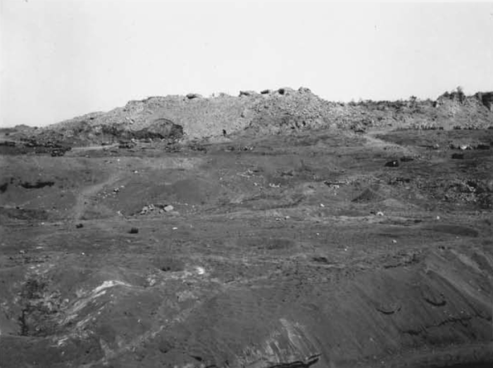 This is the ridge first taken by L/3/25. Baker Company scaled the terrace in the foreground, and made their attack against the high ground in the rear. Visible on top are the four 120mm gun positions that were their objectives.