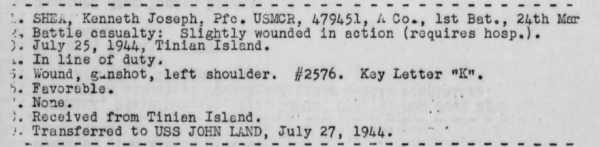 Report of USS Heywood, July 1944.