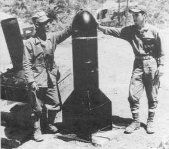 "A single Type 98 ""spigot mortar"" shell weighed 675 pounds. This one was captured on Iwo Jima."