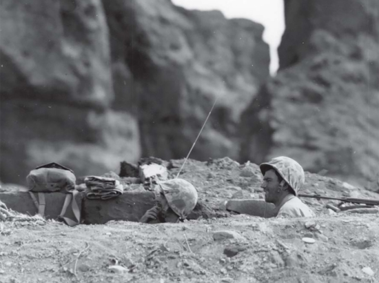 Foxhole life on Iwo Jima. USMC photo.