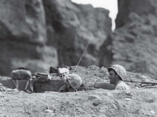 Foxhole life on Iwo Jima. USMC photo.