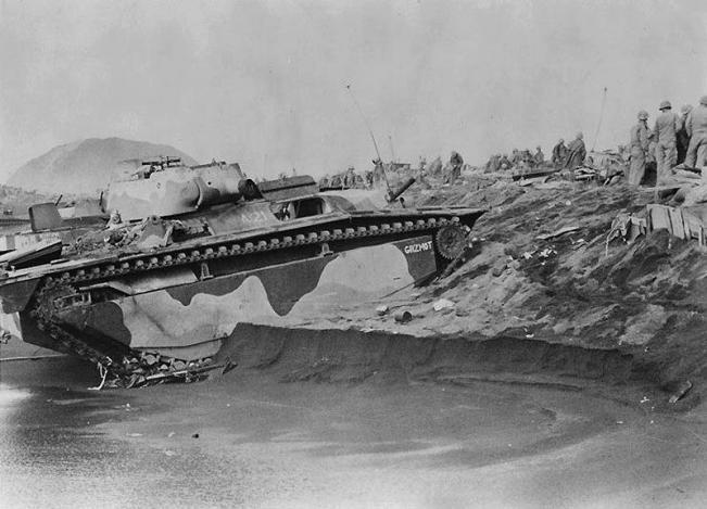 An LVTA ashore at Iwo Jima.