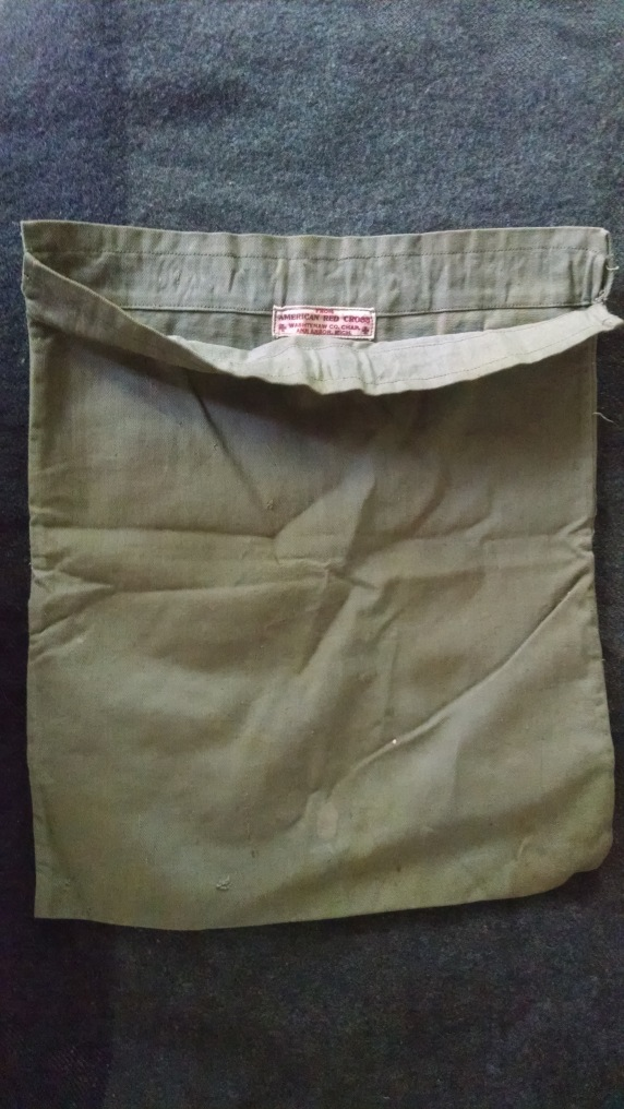 A Red Cross bag, presumably acquired by Pinkerton in 1945.