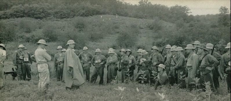 An MG class at Quantico during Phil's time there. Note rain cape on the instructor.