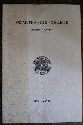 Program for the Swarthmore College memorial service.