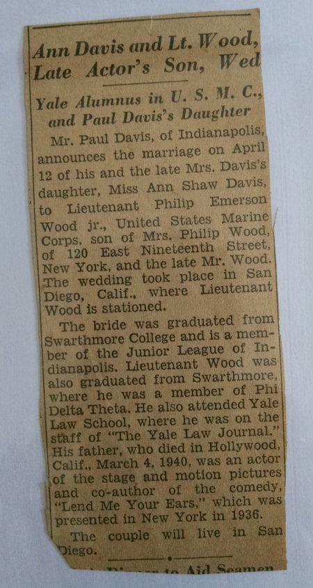 The notice that ran in the New York Times. Friends and family not in the know believed Phil and Rusty had been married.