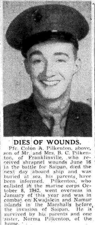Greensboro Daily News of Wednesday, Nov. 15, 1944. Posted to FindAGrave memorial.