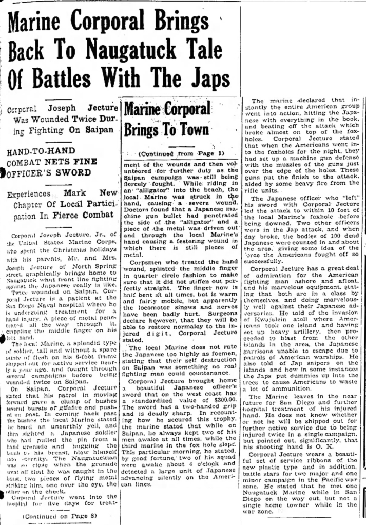 Naugatuck Daily News, 29 December 1944.