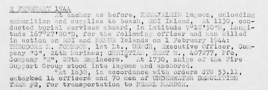 War Diary, USS Bolivar, February 1944.
