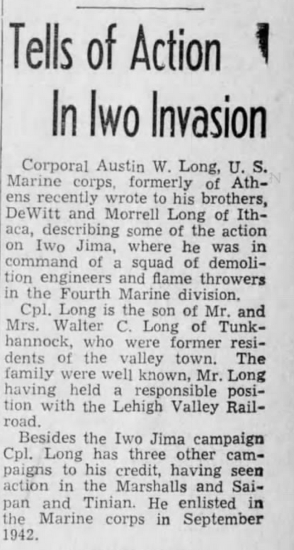 Sayre (Pennsylvania) Evening Times, 3 April 1945.