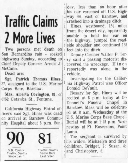 San Bernadino County Sun, 13 April 1965.