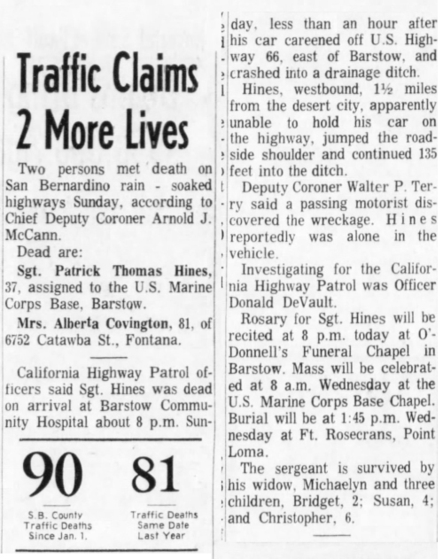 San Bernadino County Sun, 13 April 1965.