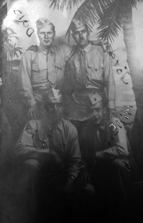 A souvenir photo of Dula, Jordan, Lineberry and Miller, taken in Hawaii sometime in 1944.*