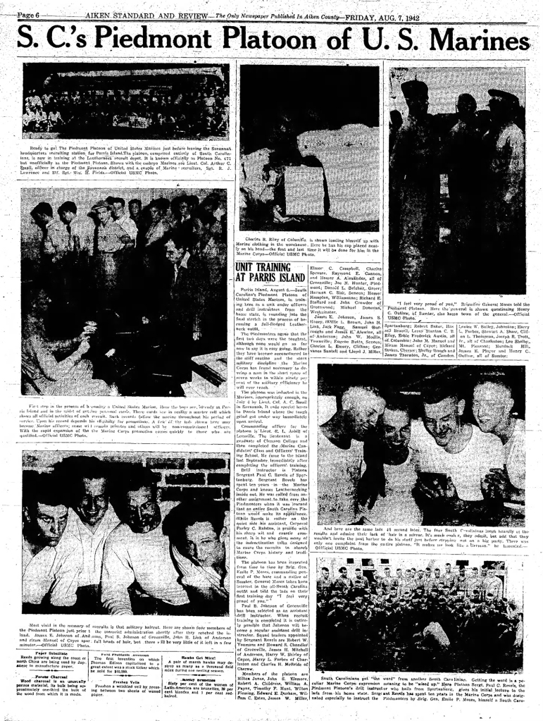 """The """"Piedmont Platoon"""" - an all South Carolina group of recruits - went through Parris Island in 1942. Their chief DI was Platoon Sergeant Revels. Article from the Aiken Standard Review, accessed from Newspapers.com."""