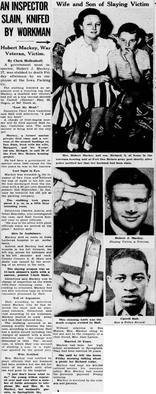 The Des Moines Register, 13 July 1946.