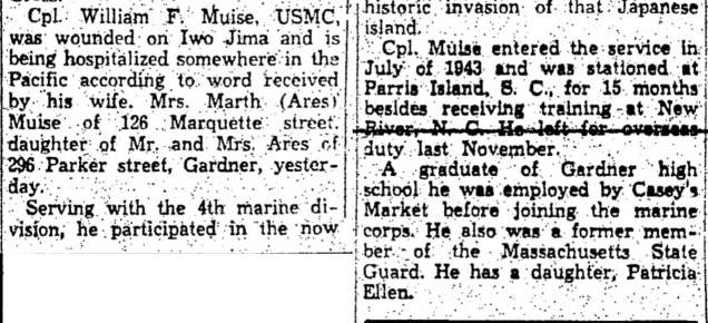 The Fitchburg Sentinel, 22 March 1945.