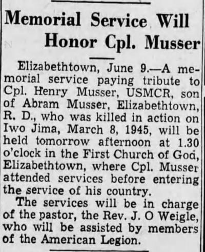 Harrisburg Telegraph, 9 June 1945.