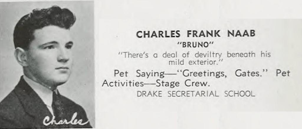 """Bruno"" Naab in the 1940 ""Syllabus"" yearbook, during his senior year at East Orange High School."