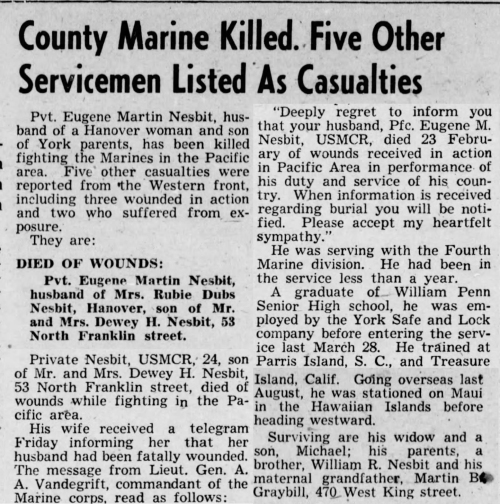 The Gazette and Daily, York PA, 5 March 1945.